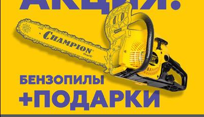 Акция на бензопилы чемпион